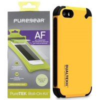 iPhone 5/5S/5c SE Case, PureGear Dualtek [Extreme Impact Rugged] Cover + Puretek Screen Protector [Anti-Fingerprint] with Tray/Roller for Apple iPhone 5/5s/SE/5c