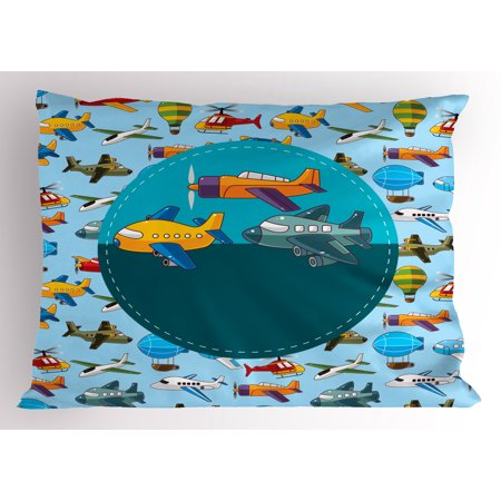 Kids Party Pillow Sham Colorful Retro Style Various Cartoon Airplanes Air Balloons Zeppelins Boys Kids, Decorative Standard Size Printed Pillowcase, 26 X 20 Inches, Multicolor, by Ambesonne