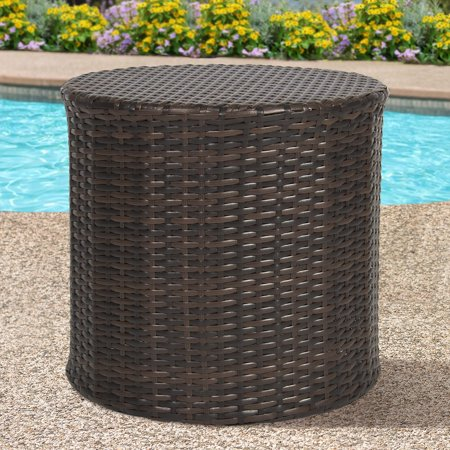 Best Choice Products Outdoor Round Wicker Rattan Barrel Side Table Patio Furniture w/ Storage, Steel Frame for Garden, Backyard, Porch, Pool - Brown