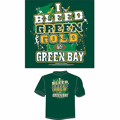 "Green Bay Football ""I Bleed Green and Gold, Go Green Bay"" T-Shirt, Green"