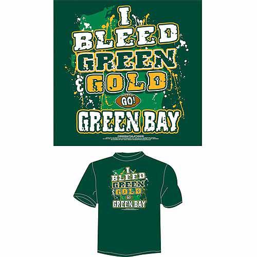 "Green Bay Football ""I Bleed Green and Gold, Go Green Bay"" T-Shirt, Green"