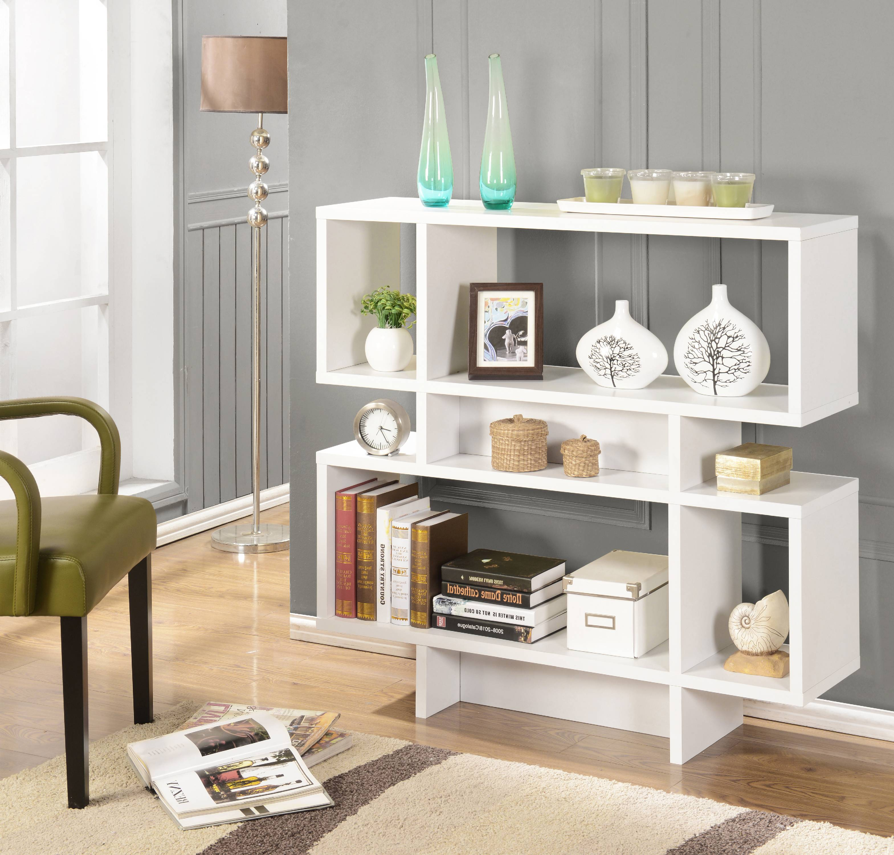 Elsie White Wood 7 Cube 3 Tier Bookcase Display Shelves Cabinet For Home & Office