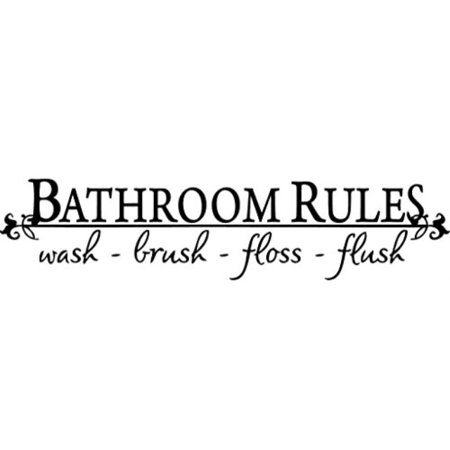 BATHROOM RULES Wash Brush Floss Flush Quote Saying Wall Sticker Home Decal Decor For Bathroom (BLACK, 1) Black, 23inches