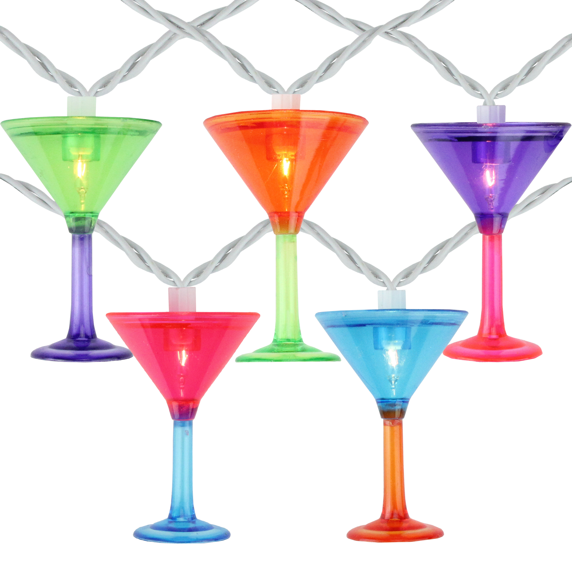 Set of 10 Multi-Colored Martini Glass Garden Patio Christmas Lights - White Wire