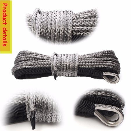 50 FT 7700LBs Gray Nylon Rope Pulling Line Synthetic Winch Line Cable Rope with Sheath ATV UTV - image 4 of 6