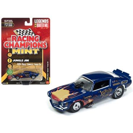 "1970 Chevrolet Camaro Funny Car ""Jungle Jim"" Blue w/ Flames Ltd Ed 3200 pcs 1/64 Diecast Model Car by Racing Champions"
