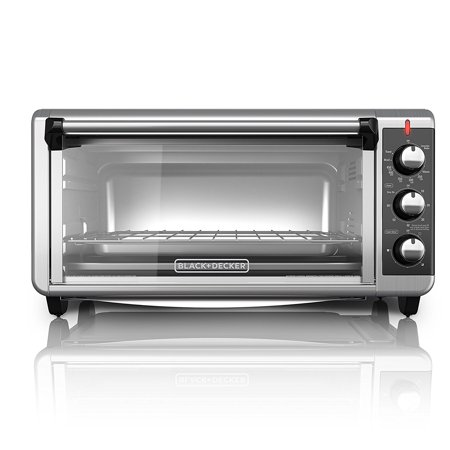 BLACK+DECKER TO3250XSB 8-Slice Extra Wide Convection Countertop Toaster Oven, Includes Bake Pan, Broil Rack & Toasting Rack, Stainless (Black And Decker Extra Wide Toaster Oven)