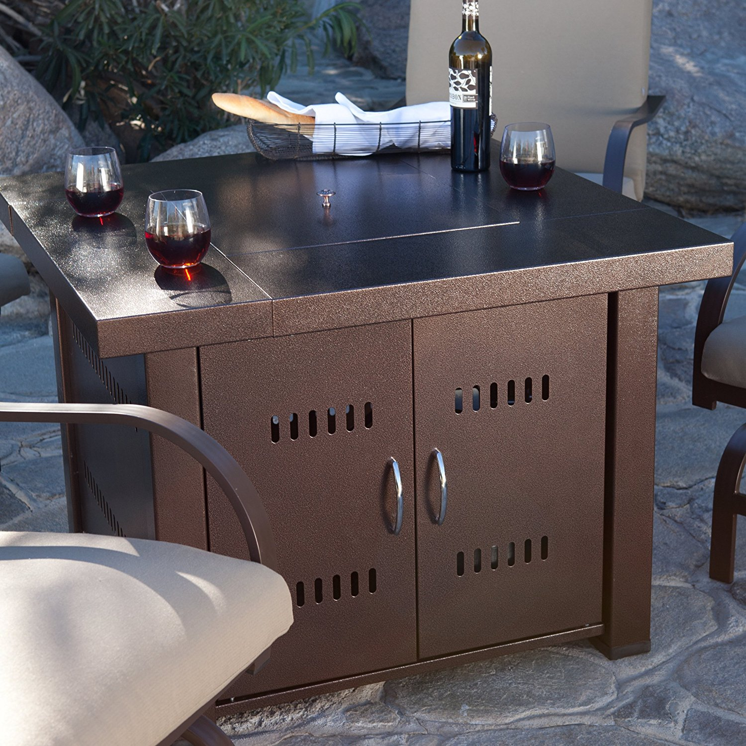 """Clevr 38"""" Backyard Propane Table Patio Heater Firepit, Bronze Finish by Clevr"""
