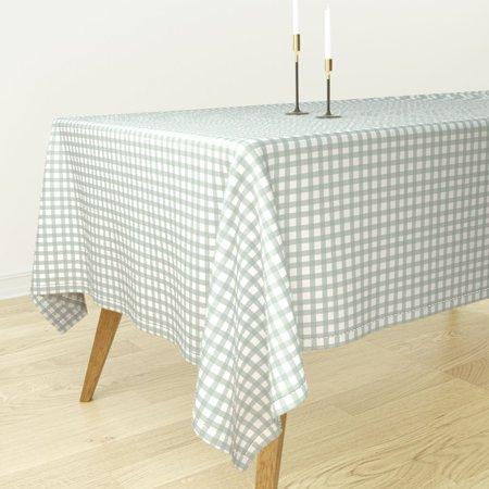 Tablecloth Checks Watercolor Checkered Mint Green Light Green Cotton Sateen](Mint Green Tablecloth)