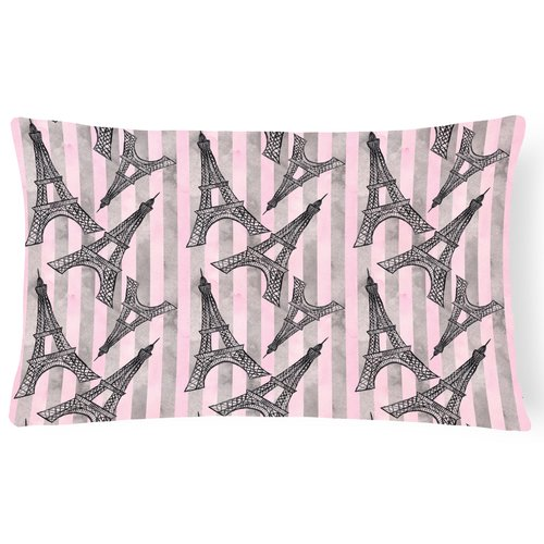 Zoomie Kids Apollonia Watercolor Eiffel Tower and Stripes Indoor/Outdoor Throw Pillow