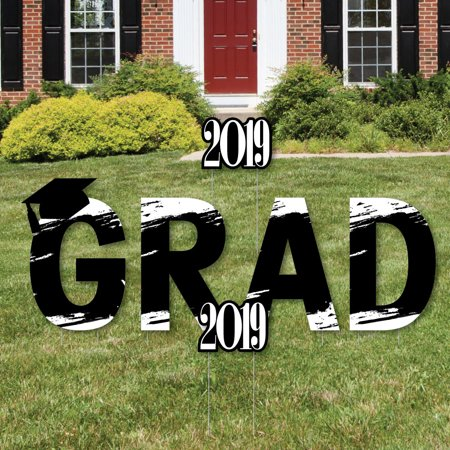 Black and White Grad - Best is Yet to Come - Grad Yard Sign Outdoor Lawn Decorations - 2019 Graduation Party Yard - Graduation Yard Signs