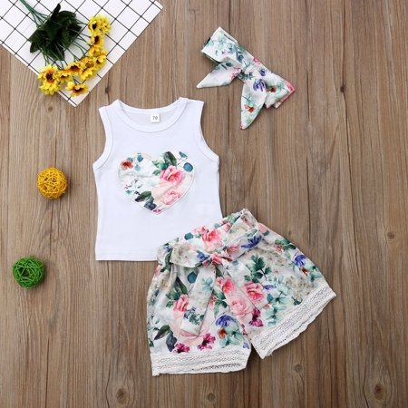 Newborn Kid Baby Girls Sleeveless Heart T-Shirt Top Floral Lace Shorts with Bowknot Headband Summer Outfit - Kingdom Hearts Outfits