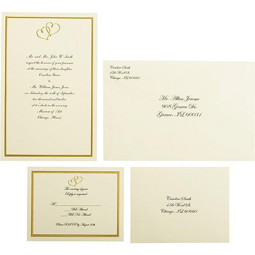 wilton wedding gold sweetheart invitation set, 50 count - walmart, Wedding invitations