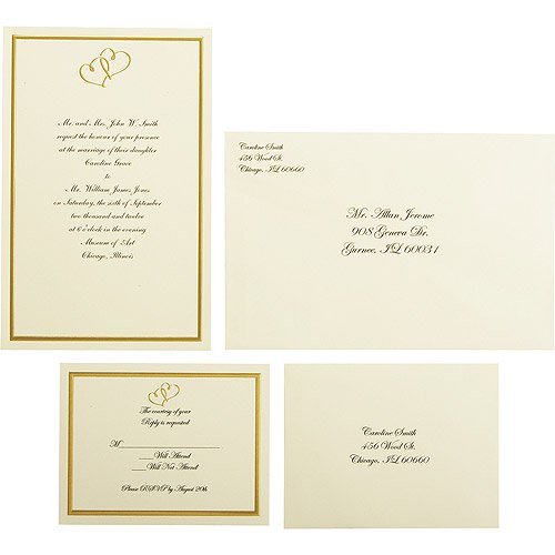 Wilton Wedding Gold Sweetheart Invitation Set Count Walmartcom - Wilton wedding invitation templates