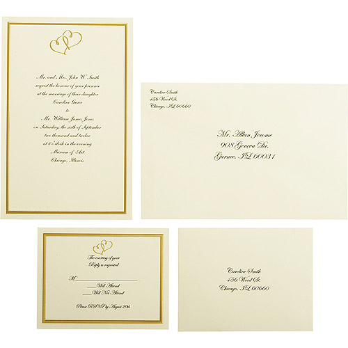 Elegant Wilton Wedding Gold Sweetheart Invitation Set, 50 Count
