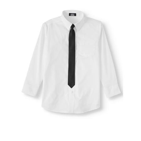 Arrow Aroflex Stretch Poplin Dress Shirt and Black Tie, 2 Piece Set (Little Boys & Big Boys)
