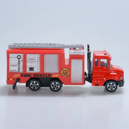 Children Simulation Alloy Car Models Mini Engineering Vehicles Metal Trucks  Toys Gifts for Kids Style:Fire fighting vehicle (red)
