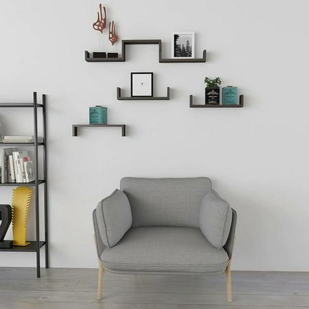 Floating Shelves Wall Mounted Set Of 3 Storage U Shaped Wood Diaplay Shelf 16 85 Length