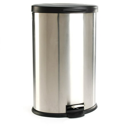 Mainstays Oval 106 Gallon Trash Can Stainless Steel Walmartcom