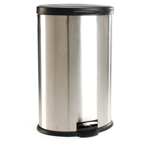 Mainstays Oval 10.6 Gallon Trash Can, Stainless Steel