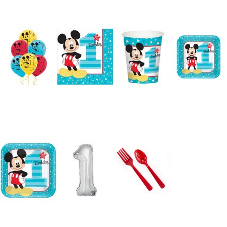 MICKEY MOUSE FIRST BIRTHDAY PARTY SUPPLIES PARTY PACK FOR 24 WITH SILVER #1 BALLOON AND LATEX