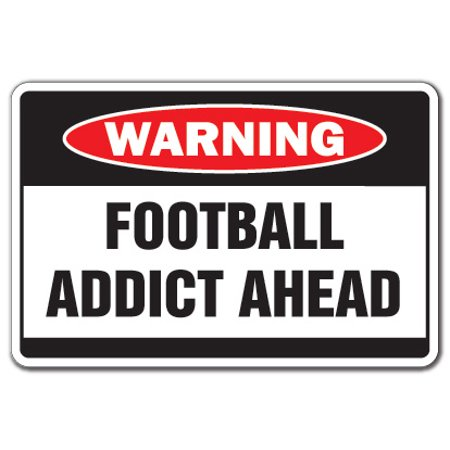 FOOTBALL ADDICT Warning Decal game team Decals NFL lover college pro helmet College Football Team Helmets