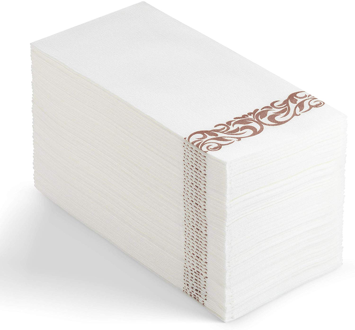 Weddings Dinners or Events White and Rose Gold Parties 100 Disposable Guest Towels Soft and Absorbent Linen-Feel Paper Hand Towels Durable Decorative Bathroom Hand Napkins Good for Kitchen