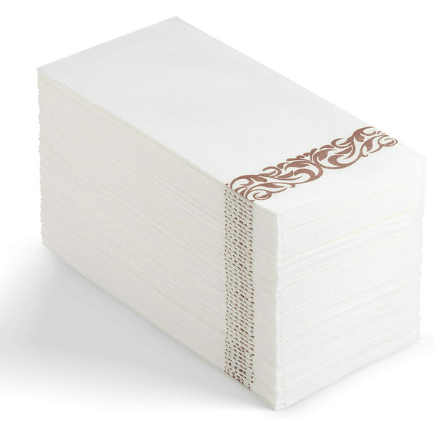 100 Disposable Guest Towels Soft And Absorbent Linen Feel Paper Hand Towels Durable Decorative Bathroom Hand Napkins Good For Kitchen Parties Weddings Dinners Or Events White And Rose Gold Walmart Com Walmart Com