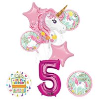 "Unicorn Party Supplies ""Believe In Unicorns"" 5th Birthday Balloon Bouquet Decorations"