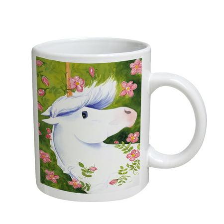 KuzmarK Coffee Cup Mug 11 Ounce -  Blue-Eyed Unicorn with Pink Roses Art by Denise Every ()