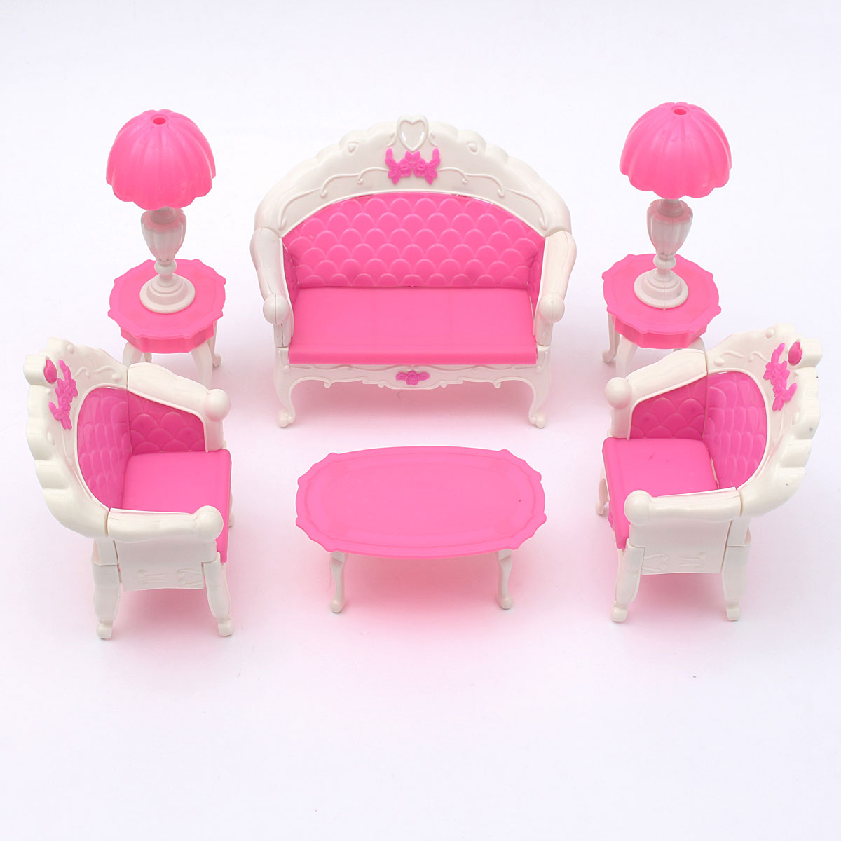 barbie furniture for dollhouse. 6PCS Barbie Dollhouse Furniture Living Room Parlour Sofa Chair Set Toys For Doll Pink