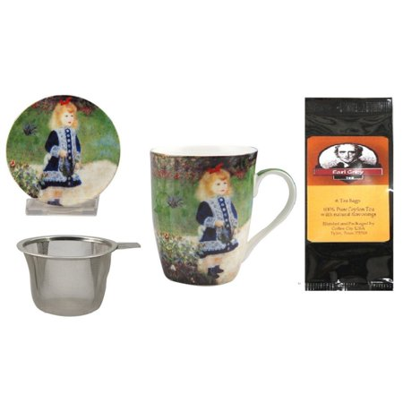 Renoir Girl with Watering Can Tea Mug, Infuser and Lid in Matching Gift Box and 6 Tea Bags - Cardboard Gift Boxes With Lids