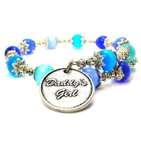 Little Girl Birthstone Charm (Chubby Chico Charms Daddy's Girl Cat's Eye Wrap Charm Bracelet in Sapphire Blue and Aqua Blue)
