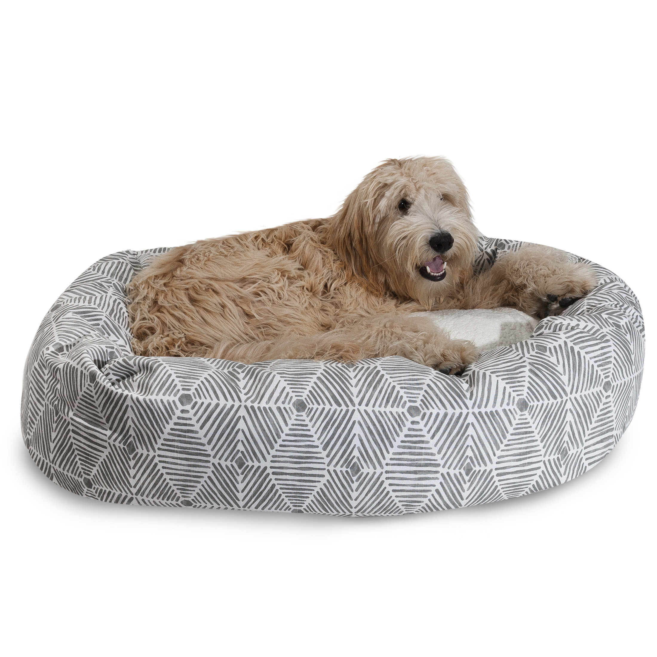 "Majestic Pet Charlie Sherpa Bagel Dog Bed Machine Washable Gray Small 24"" x 19"" x 7"""
