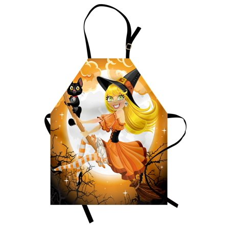 Halloween Apron Cute Sexy Witch on a Broom with Baby Kitten and Hazy Moonlight Halloween Themed, Unisex Kitchen Bib Apron with Adjustable Neck for Cooking Baking Gardening, Multicolor, by Ambesonne