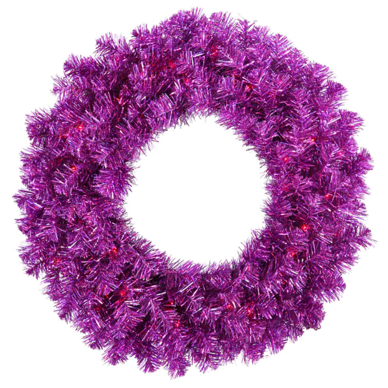 "Vickerman 36"" Prelit Wild Purple Tinsel Artificial Christmas Wreath - Purple Lights"