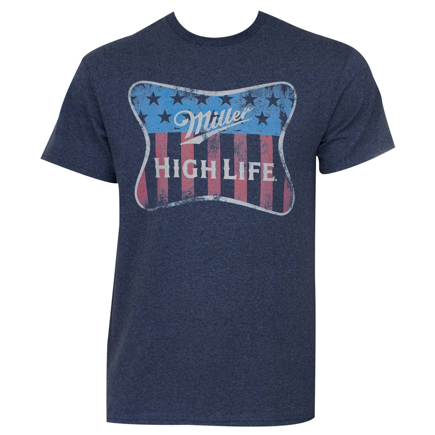 Miller Beer Men's  High Life Flag - Heather T-shirt Navy