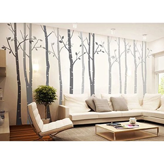 Tayyakoushi Clical Removable Vinyl Set Of 4 Birch Tree Wall Decal Nursery Sticker For Living Room Decor Murals