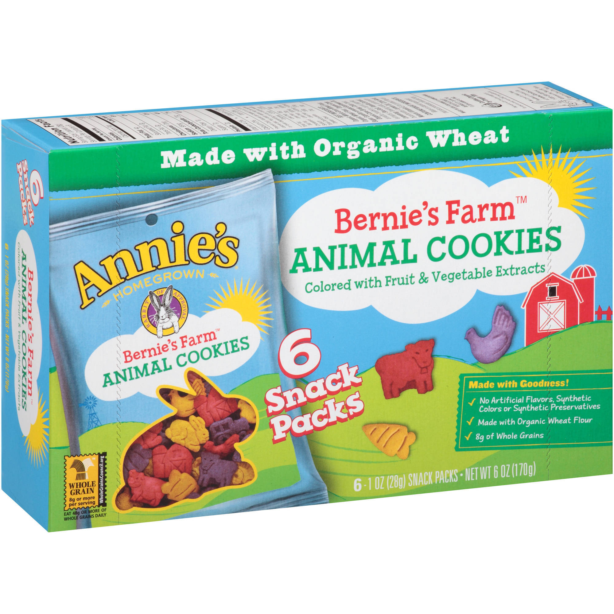 Annie's Homegrown Bernie's Farm Animal Cookies, 1 oz, 6 count (Pack of 6)