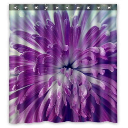 YKCG Big Blooming Flower Purple Violet Flower Shower Curtain Waterproof Fabric Bathroom Shower Curtain 66x72 inches