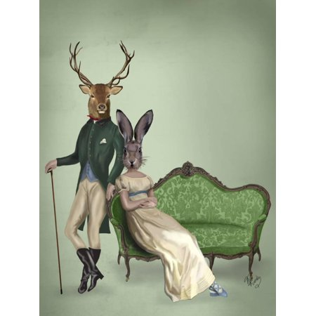 Mr Deer and Mrs Rabbit Print Wall Art By Fab Funky