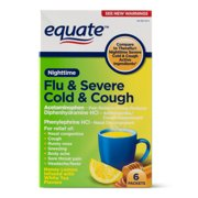 Equate Nighttime Flu & Severe Cold & Cough Packets, 650 mg, 6-Count