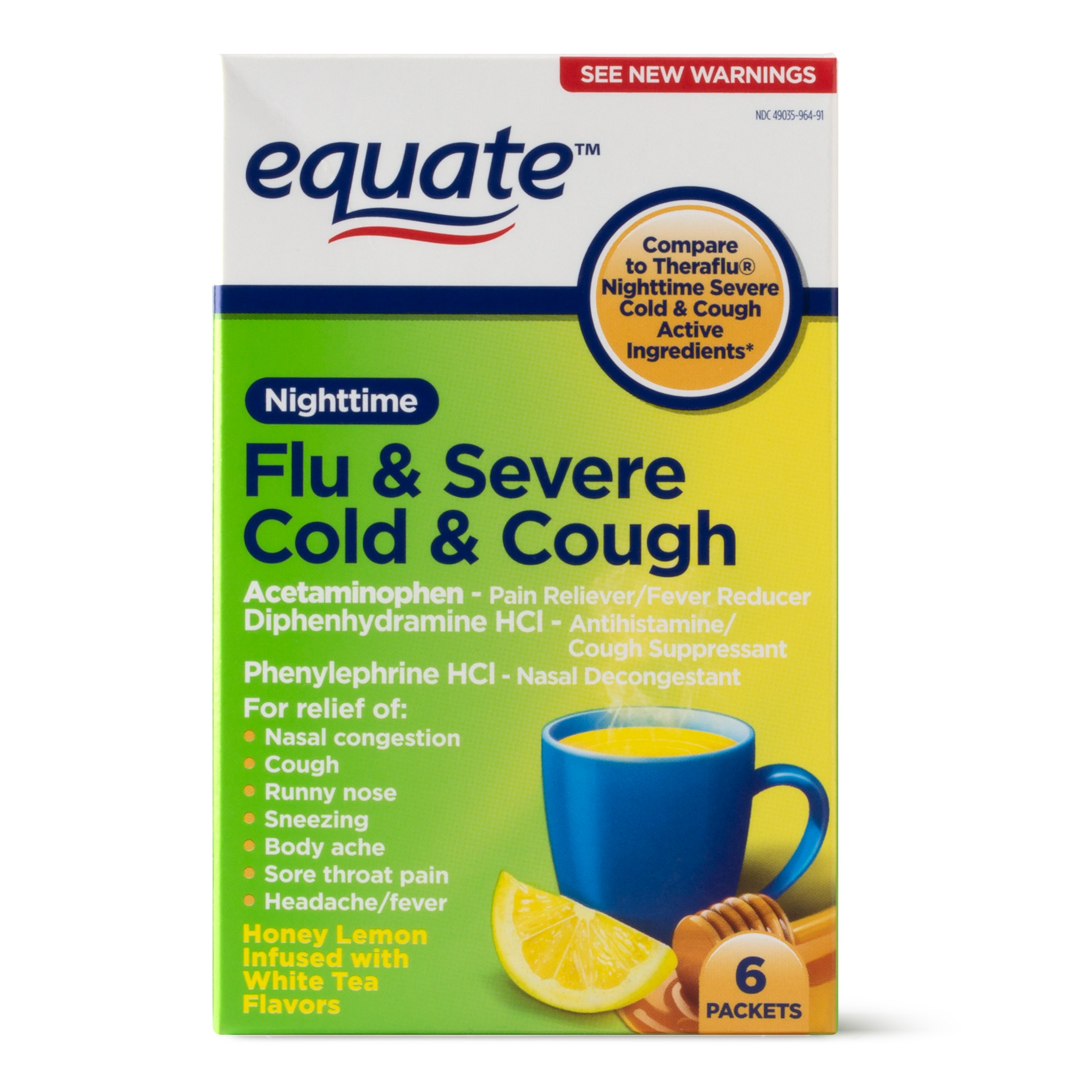 Equate Nighttime Flu & Severe Cold & Cough Packets, 650 mg, 6 Ct