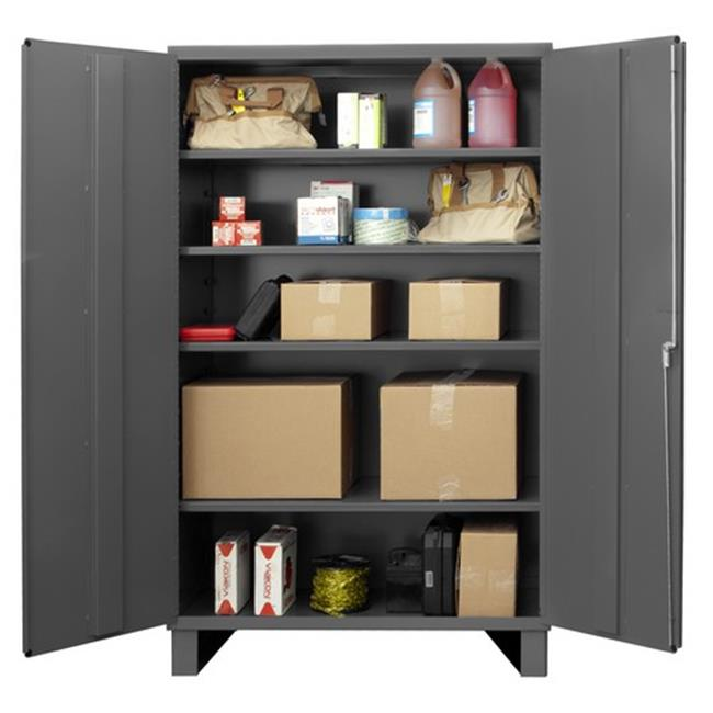 14 Gauge Flush Door Style Lockable Storage Shelf Cabinet with 4 Adjustable Shelves, Gray - 48 in.