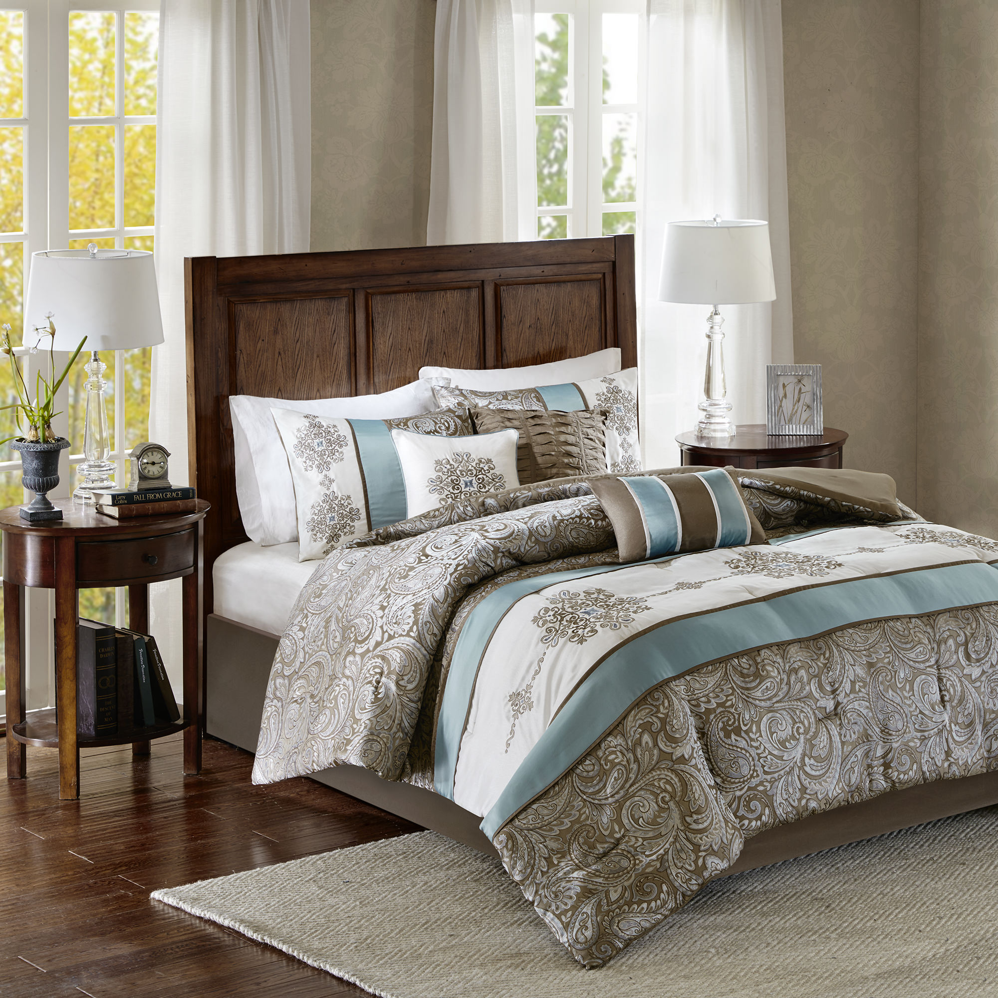 Home Essence Sharon Jacquard 7 Piece Comforter Set