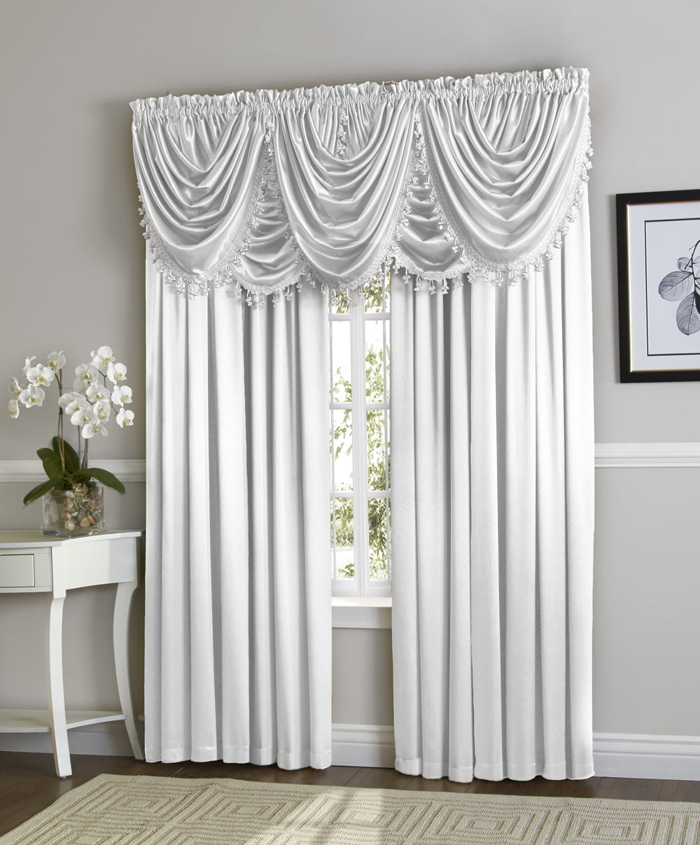 Hyatt Window Curtain & Fringed Valance Complete 9 Piece Window Treatment Set White by