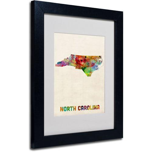 "Trademark Fine Art ""North Carolina Map"" Matted Framed Art by Michael Tompsett, Black Frame"