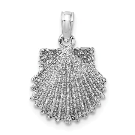 14K White Gold Solid 2-D Beaded Scallop Shell Charm Pendant