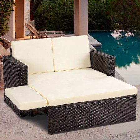Gymax 2pcs Patio Rattan Loveseat Sofa Ottoman Daybed Garden Furniture Set W Cushions