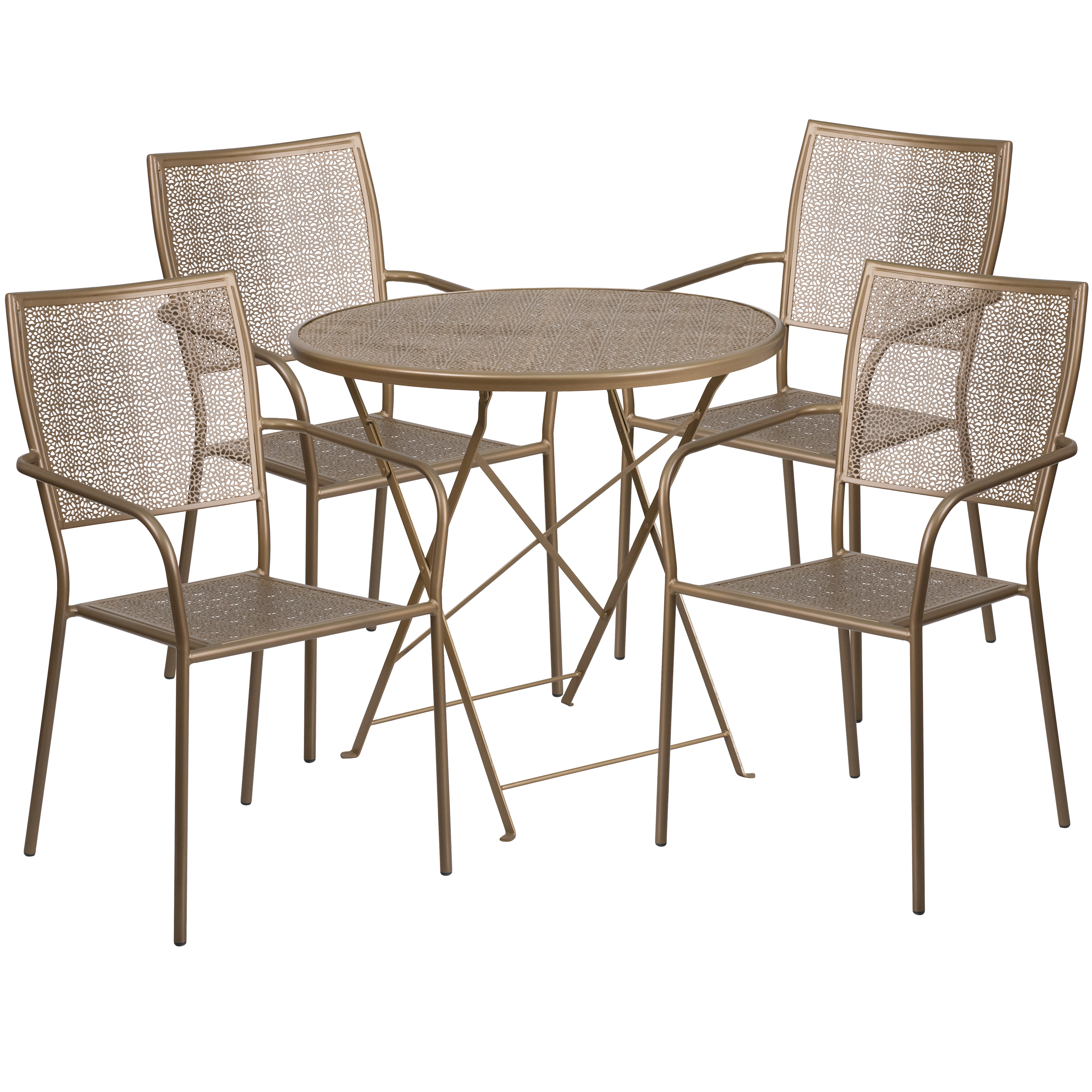 Flash Furniture 30'' Round Indoor-Outdoor Steel Folding Patio Table Set with 4 Square Back Chairs, Multiple Colors